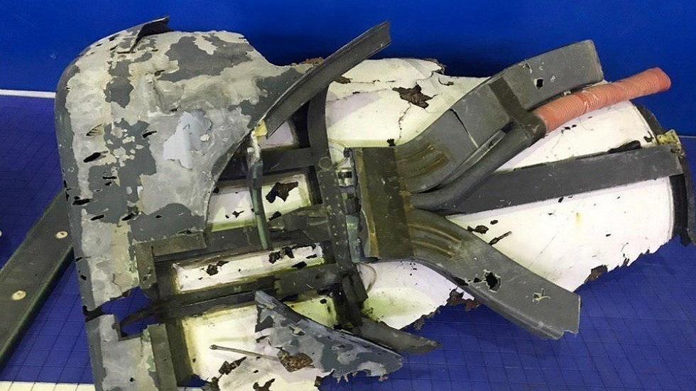 Restos del fuselaje de un dron estadounidense RQ-4A exhibido por la Guardia Revolucionaria de Irán. Foto Especial / EFE