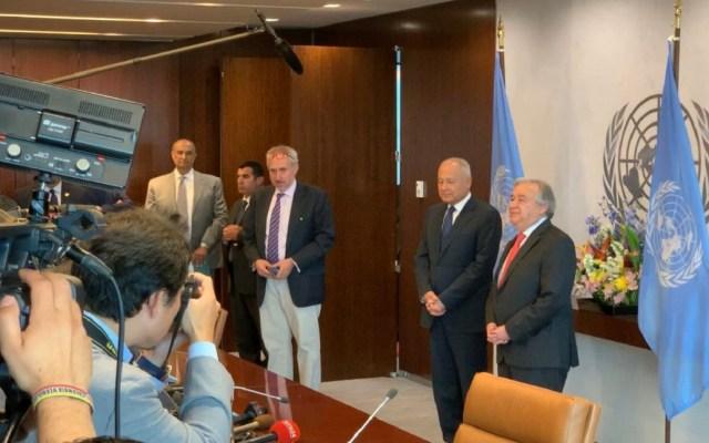 ONU demanda la verdad sobre ataque a buques en Golfo de Omán - António Guterres en conferencia de prensa con Ahmed Abulgueit. Foto de @antonioguterres