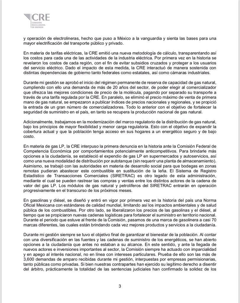 Renuncia García Alcocer a la CRE
