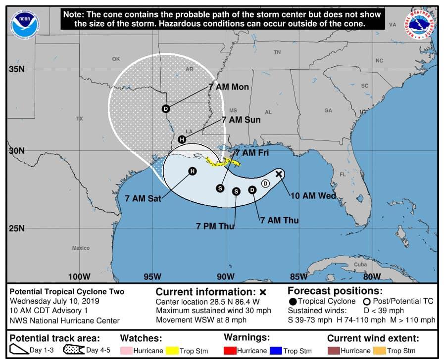 Tormenta tropical Barry amenaza con inundaciones a Luisiana, EE.UU