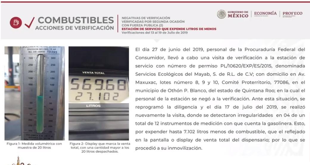 Gasolinera en Quintana Roo robaba 30% por cada litro — Profeco