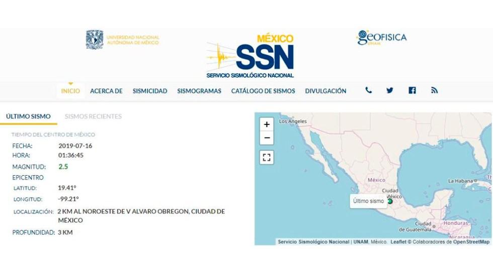 Sismo de magnitud 2.5 sacude Álvaro Obregón - sismo alvaro obregon