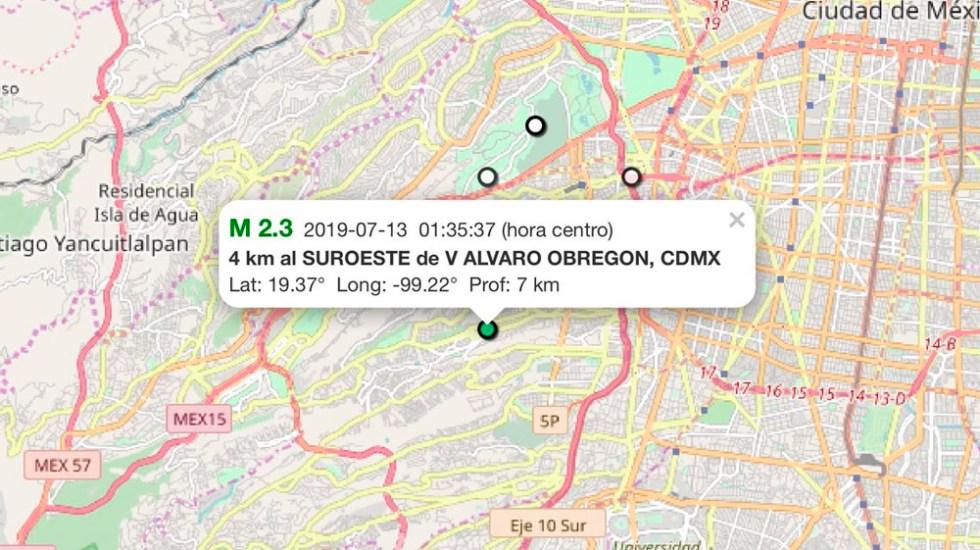Nuevo sismo de magnitud 2.3 sacude Álvaro Obregón - sismo Alvaro obregón