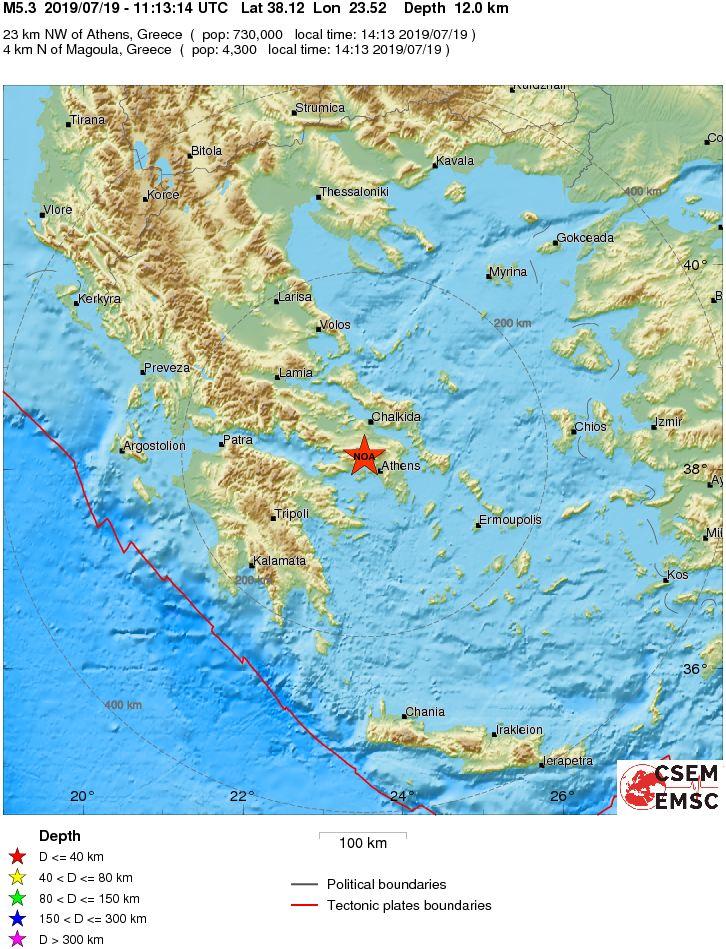 Muy cerca de Atenas, el epicentro del sismo. Datos de emsc.eu.