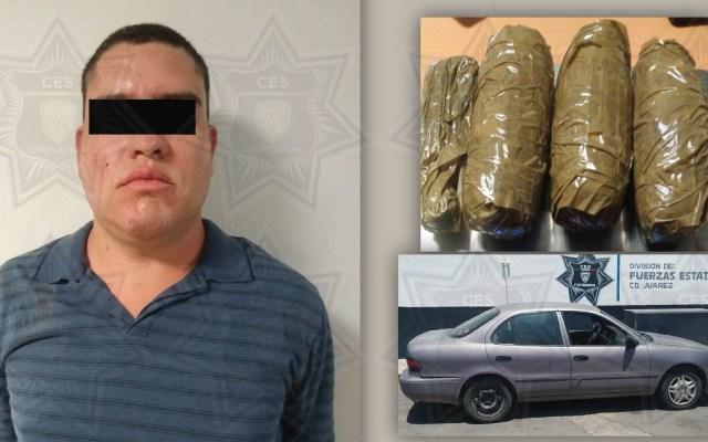 Aseguran 1.5 mdp en goma de opio en Ciudad Juárez - Víctor Manuel 'Cheper', detenido en posesión de 2 kg de goma de opio. Foto de FGE Chihuahua