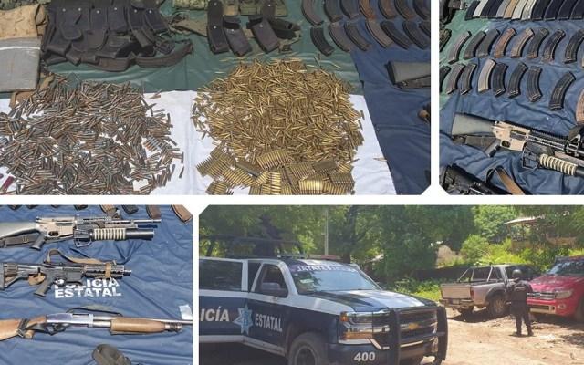 Buscan granadas presuntamente escondidas por 'El Carrete' en Guerrero - Armamento presuntamente relacionado a El carrete. Foto de @SSPGro