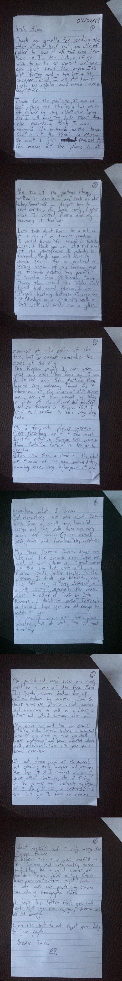 Carta de Brenton Tarrant a Alan. Foto de 4chan
