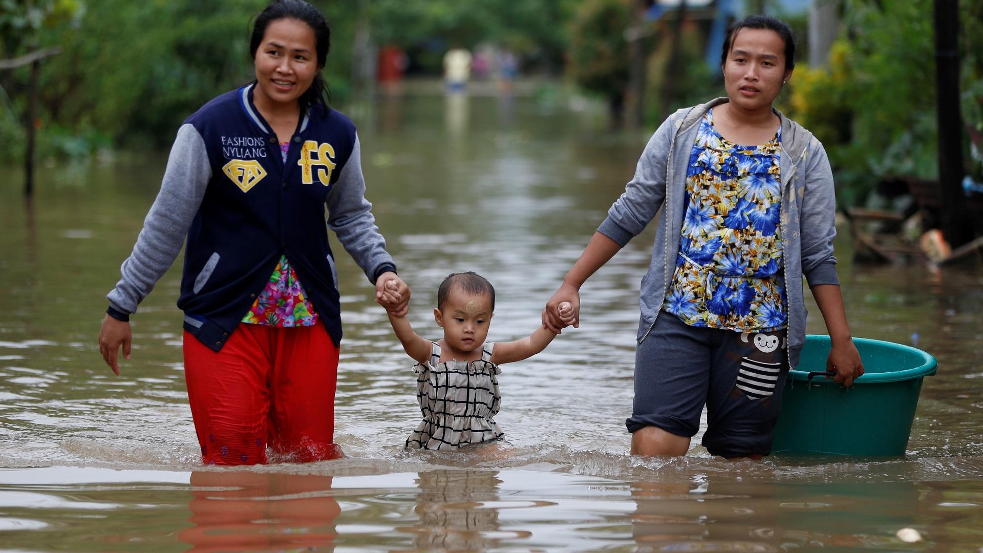 Inundaciones por lluvias monzónicas en Myanmar. Foto de EFE