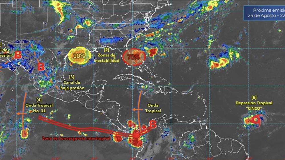 Depresión tropical número cinco se forma en el Océano Atlántico - Foto de @conagua_clima