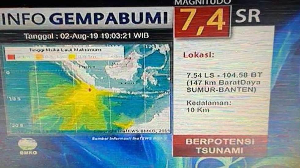Alerta de tsunami tras sismo magnitud 7.4 en Indonesia - Terremoto Indonesia. Foto de BMKG/ kabar24.bisnis.com
