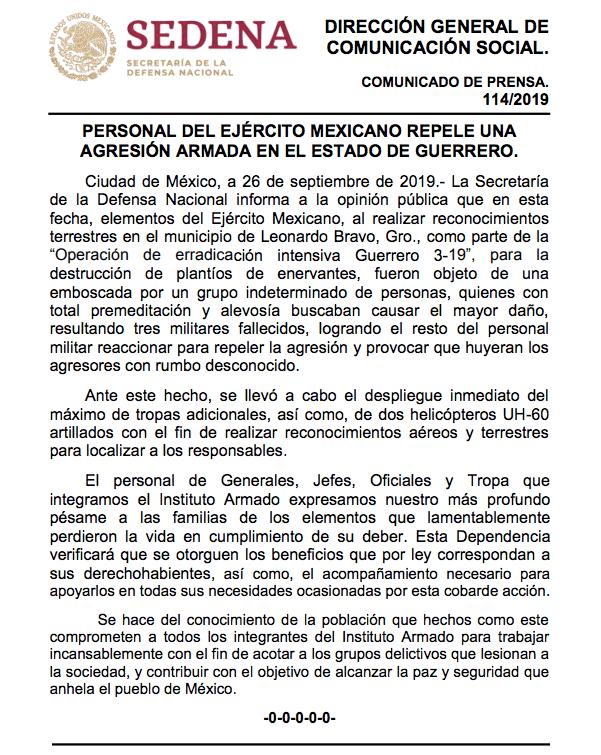 Lamenta AMLO muerte de militares emboscados en Guerrero