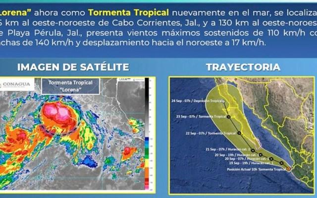 Lorena podría volver a ser huracán tras degradarse - tormenta tropical lorena