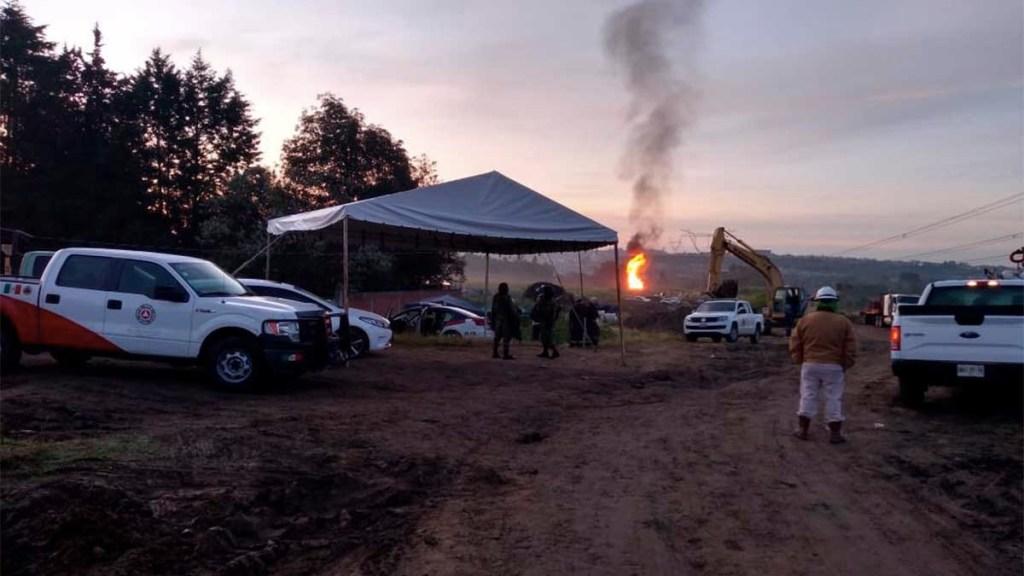 Continúan trabajos para controlar fuga de gas en Puebla - trabajos fuga de gas e incendio puebla