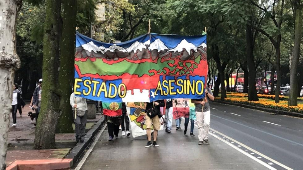 Marchan chilenos en México para pedir salida del presidente Piñera - Foto de @israellorenzana