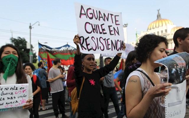 Marchan en la Ciudad de México para apoyar protestas en Chile - Chilenos marchan Ciudad de México protesta
