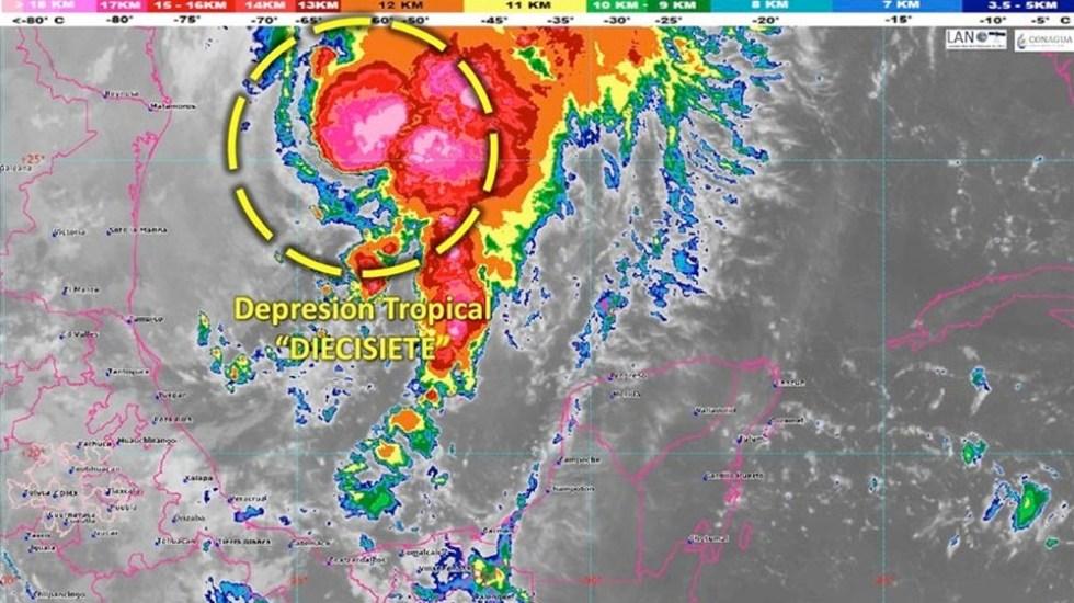 Se forma la depresión tropical 17 en el Golfo de México - depresion tropical