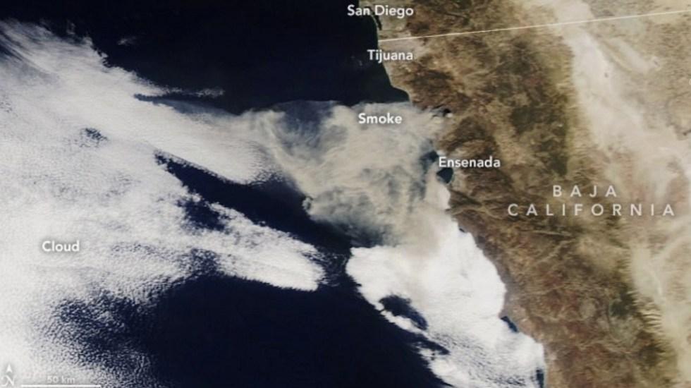 NASA revela imágenes de los incendios en Baja California - Foto de NASA