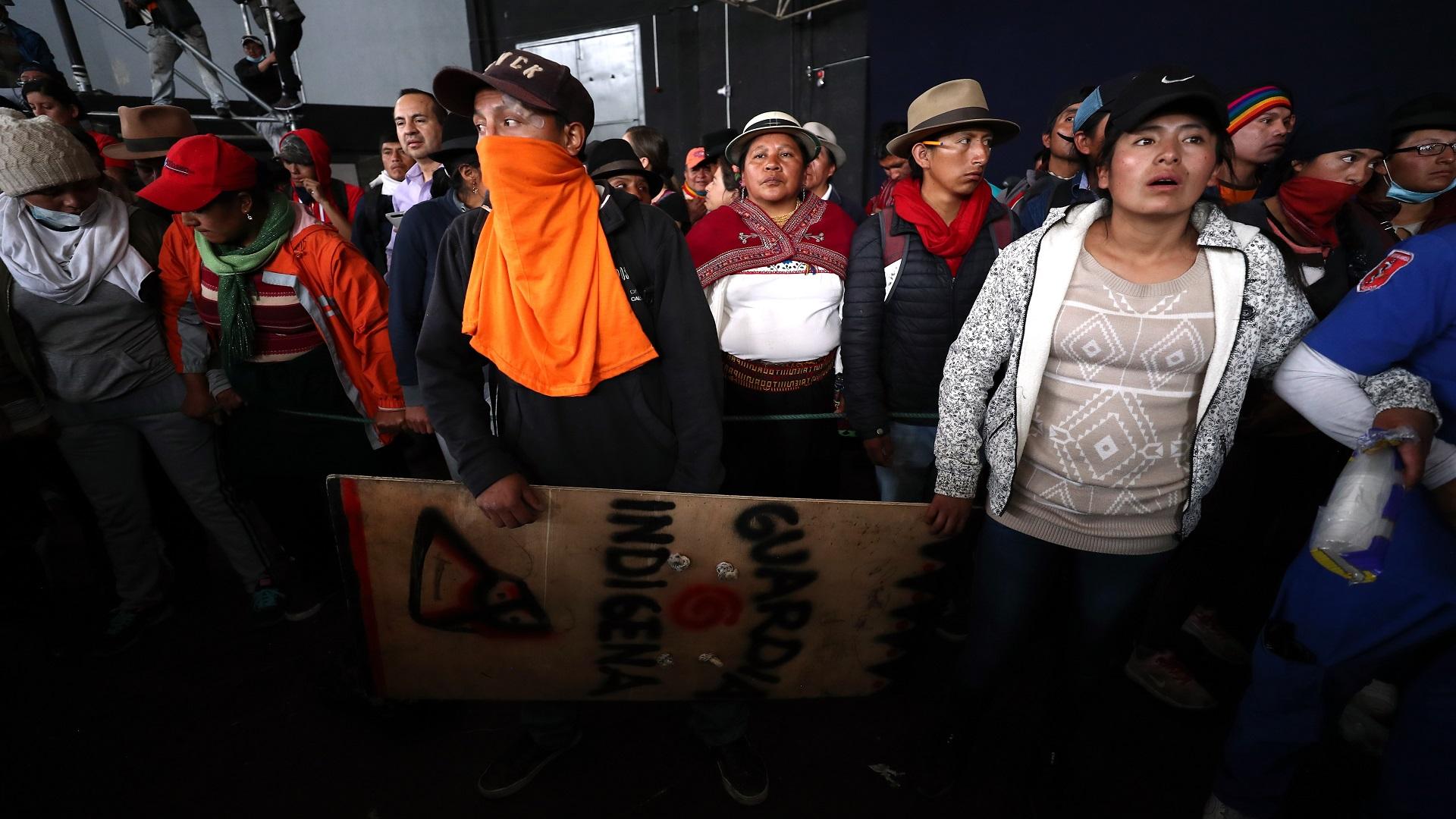 Manifestantes indígenas. Foto de EFE