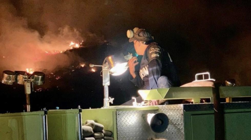 Activan Plan Marina por incendios en Baja California - Foto de Semar