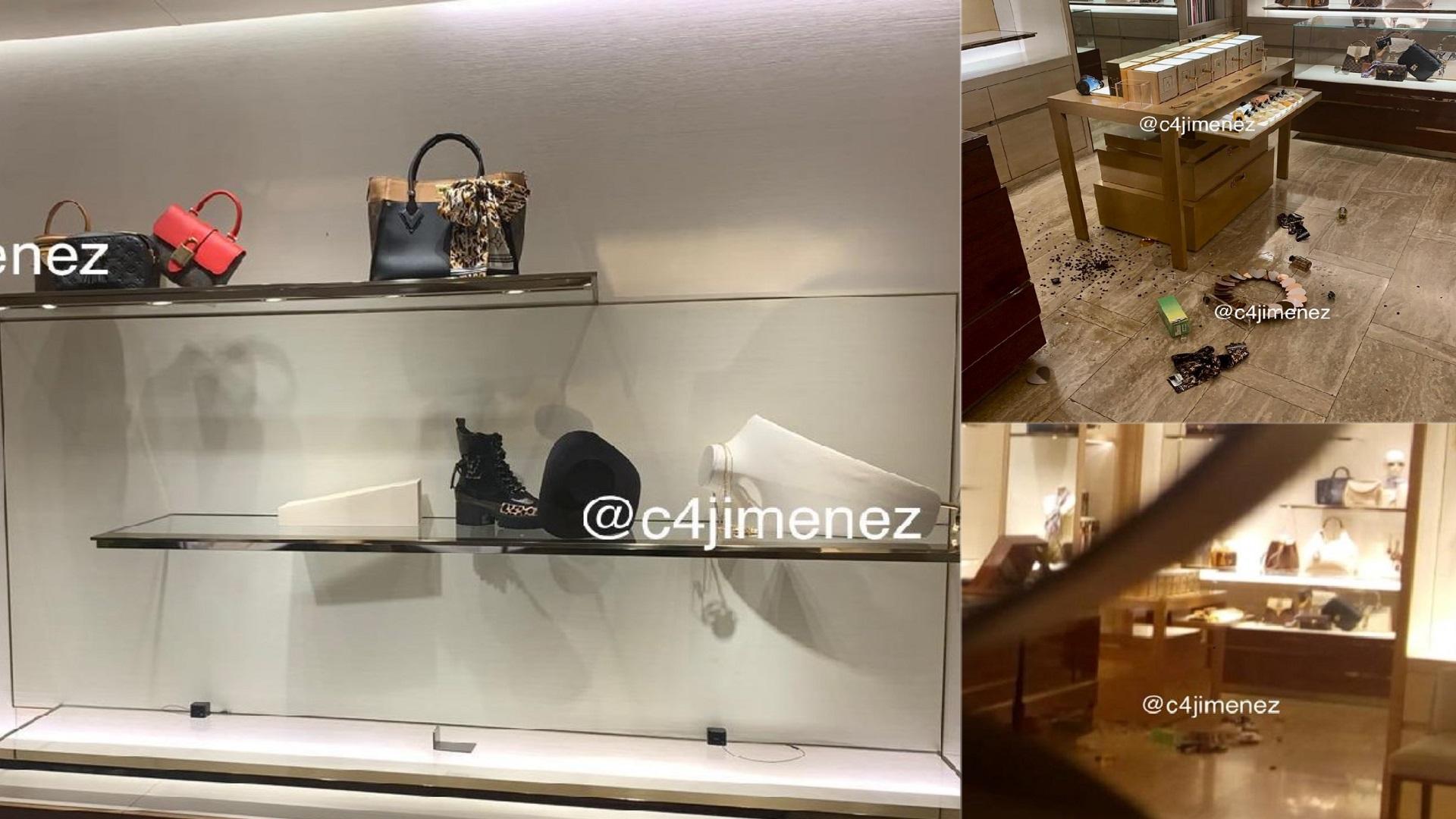 Robo en tienda Louis Vuitton. Foto de @c4jimenez