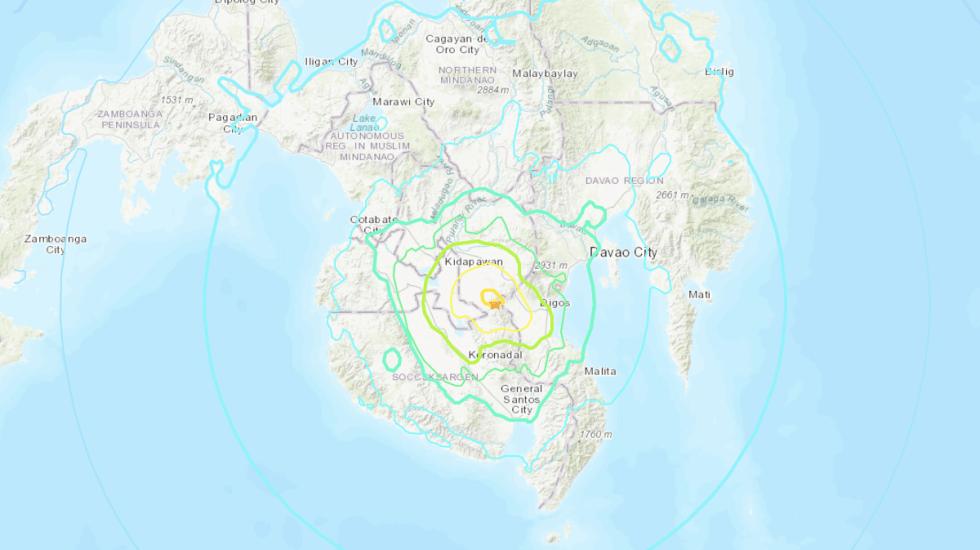 Sismo de magnitud 6.6 sacude el sur de Filipinas - Foto de USGS