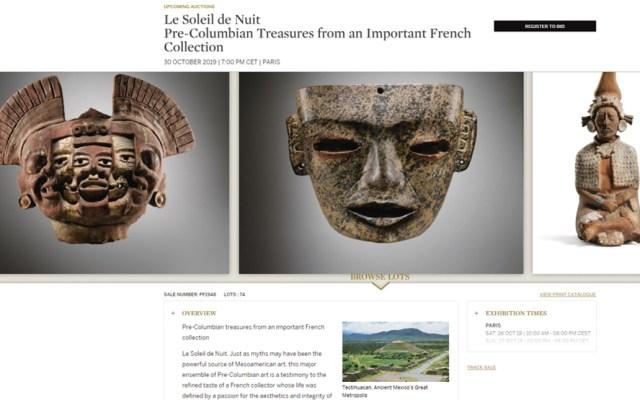 INAH presenta denuncia ante FGR por subasta de piezas arqueológicas en París - Captura de Pantalla