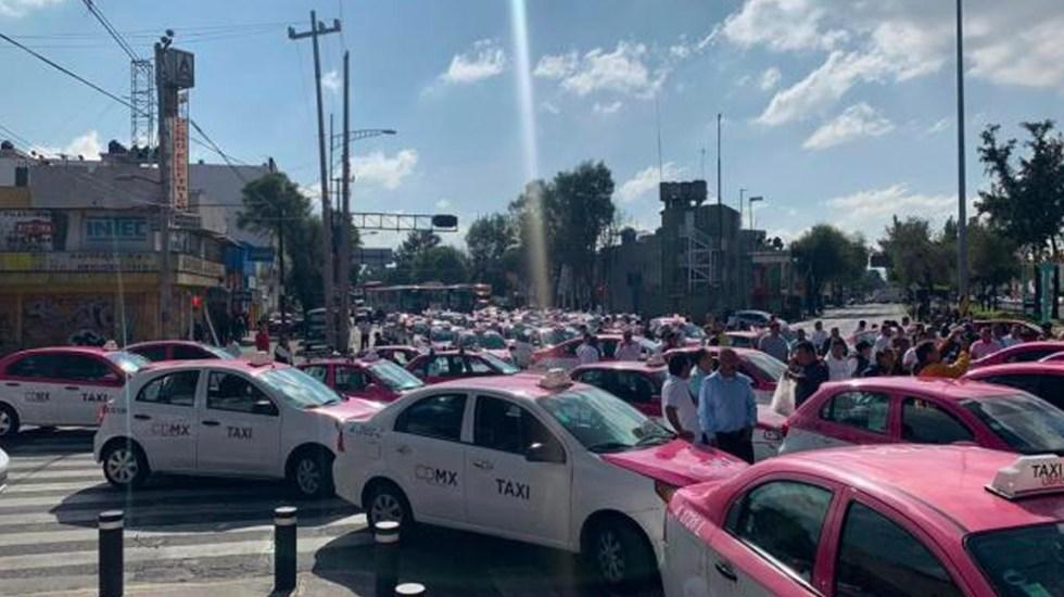 Tránsito intenso en Eje 1 Norte por protesta de taxistas - Manifestación taxistas