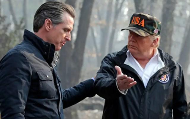 Gobierno de Trump demanda a California por acuerdo con Canadá - Gobernador de California, Gavin Newsom, con el presidente Trump