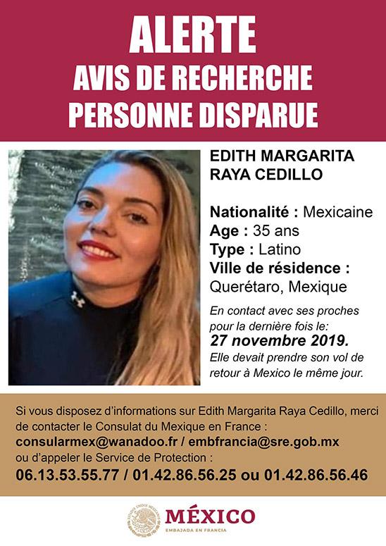 Alerta de Desaparición de Edith Margarita. Foto de @EmbaMexFra