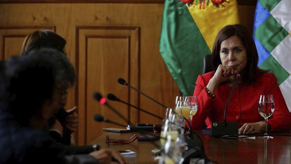Advierten por riesgo para ex ministros de Evo Morales acogidos por México - Karen Longaric, canciller del gobierno provisional en Bolivia.