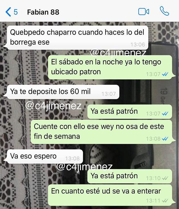 Conversación entre El Fabián y Azael sobre asesinato de Carlos Villafán. Foto de @c4jimenez