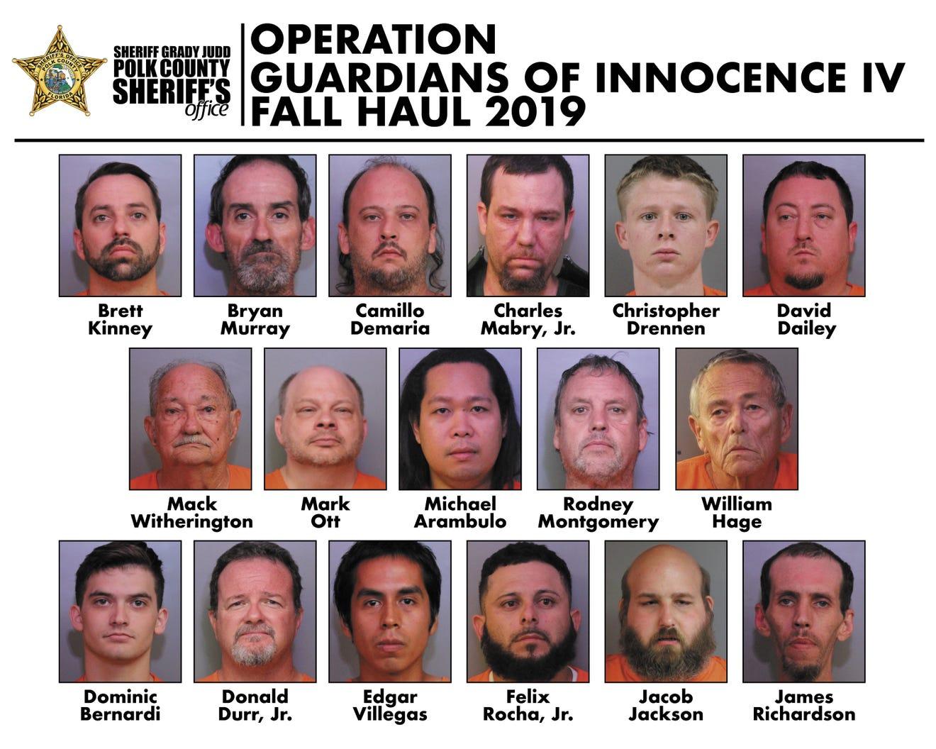 Los detenidos tras operativo. Foto de Polk County Sheriff's Office..