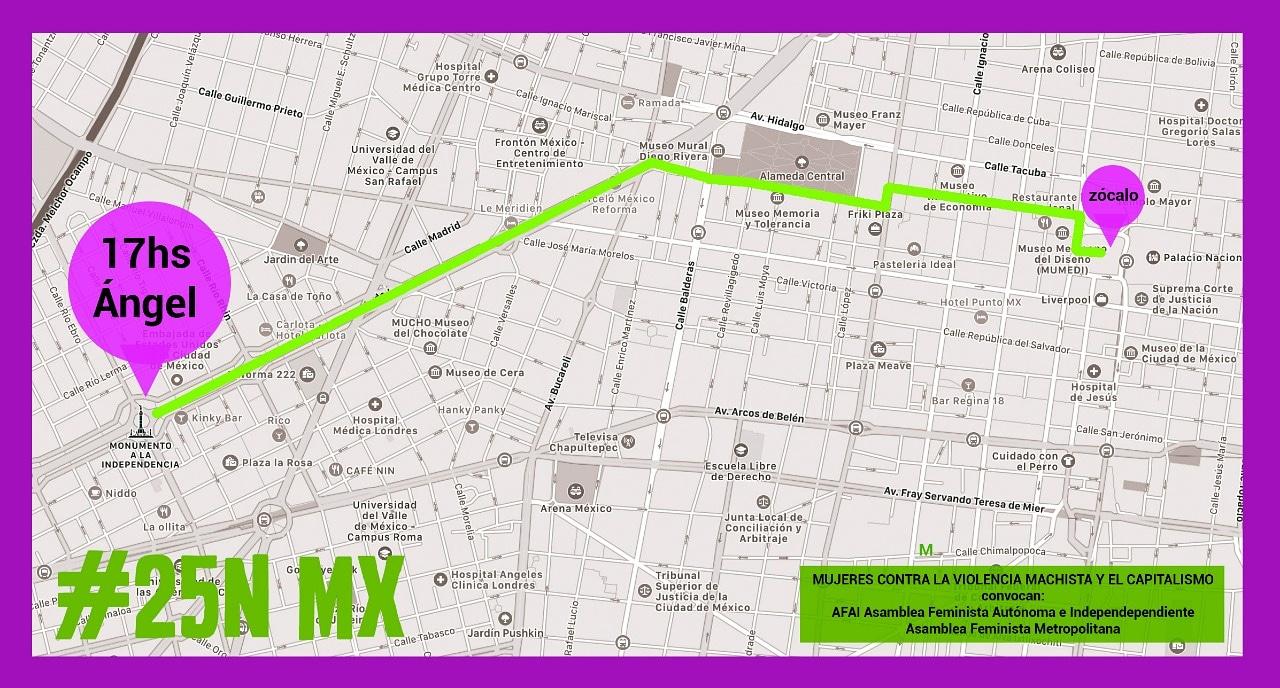 Ruta de la marcha feminista del Ángel de la Independencia hasta el Zócalo. Foto de @TerremotoFemin1