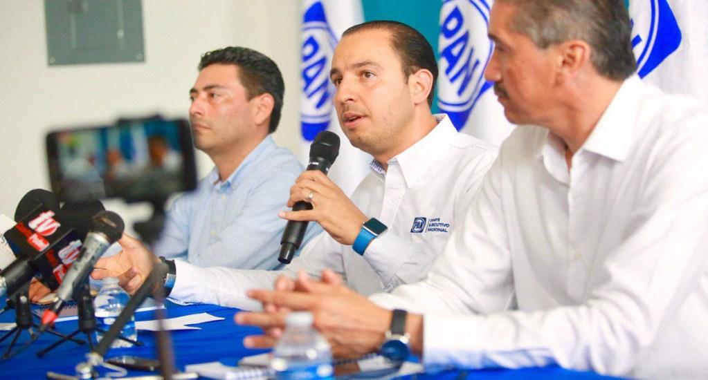 PAN plantea alianza parcial con PRD y MC para 2021 - Marko Cortés en conferencia de prensa. Foto de @MarkoCortes
