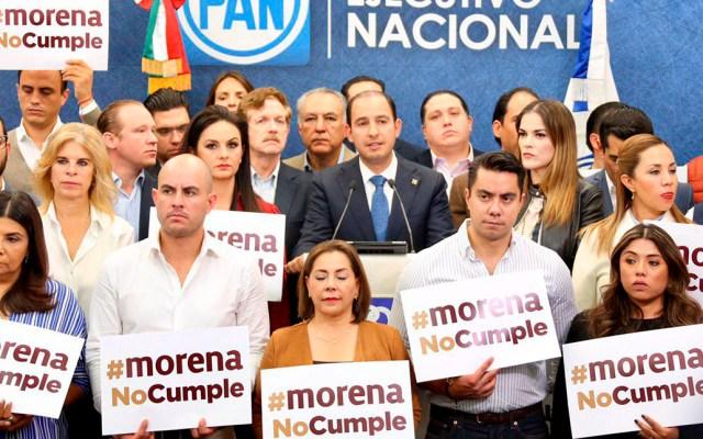 PAN no aprobará un presupuesto 'a escondidas': Marko Cortés - Protesta del PAN contra Morena por aprobación del PEF 2020. Foto de @MarkoCortes