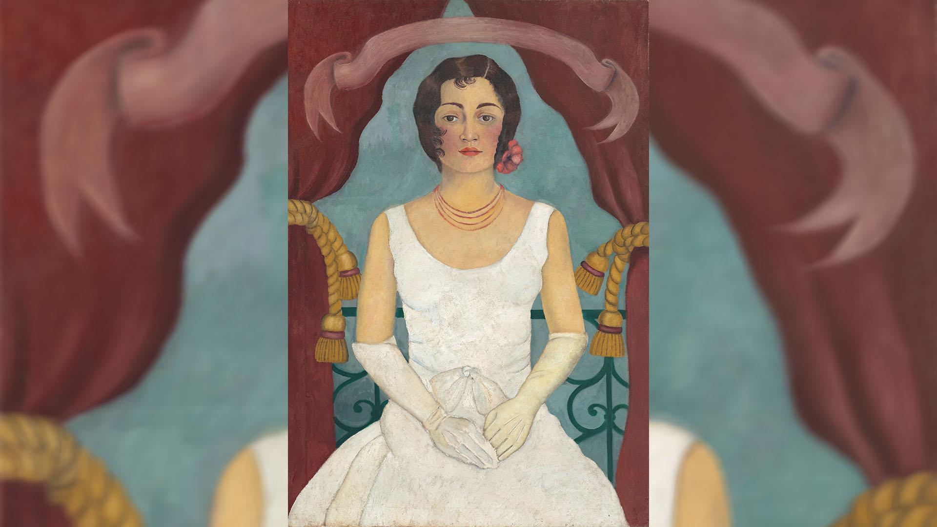 Retrato de una mujer de blanco, pintado por Frida Kahlo en 1992. Foto de EFE