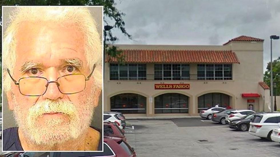 Hombre de la tercera edad roba banco en Florida con nota intimidatoria - Hombre de la tercera edad acusado de robar un banco
