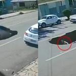 #Video Conductora cae a socavón recién formado tras el paso de un camión de carga