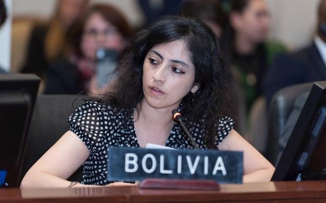 Cancillería boliviana denuncia golpe de Estado y violación de DD.HH.; pide a OEA 'no ser omisa' - la representante alterna de Bolivia, Tania Paz Gonzáles, mientras habla durante sesión extraordinaria de la OEA. Foto de EFE/Juan Manuel Herrera.