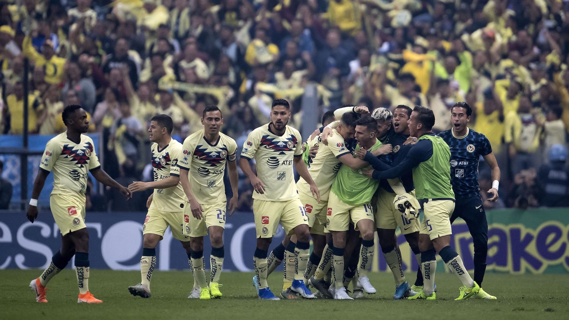 América festejando el gol de Viñas- Foto de Mexsport.
