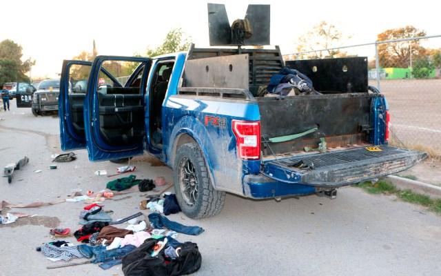 Van 25 muertos por enfrentamientos en Villa Unión, Coahuila - Destrozos en camioneta involucrada en enfrentamiento en Villa Unión. Foto de EFE