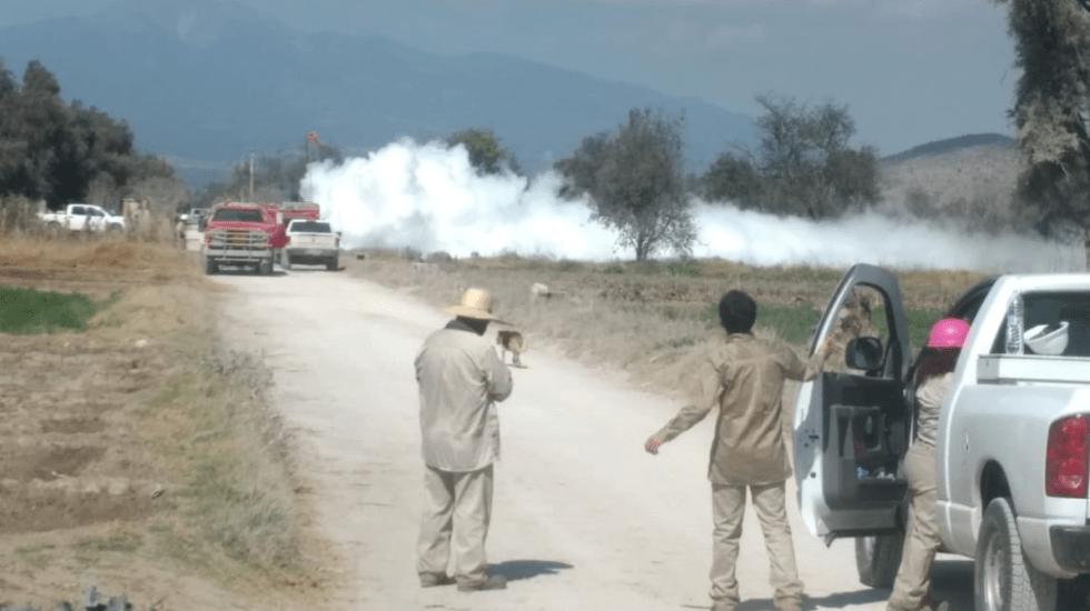Nueva fuga de gas en ducto de Tepeaca provoca desalojo de habitantes - Foto de @CNPC_MX