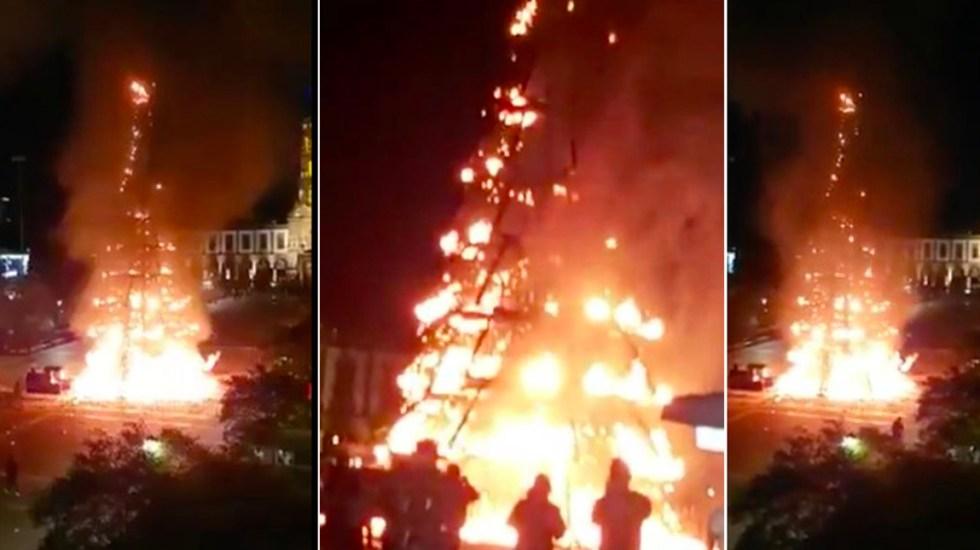 #Video Incendio consume árbol de Navidad del centro de Zapopan - Incendio árbol de Navidad