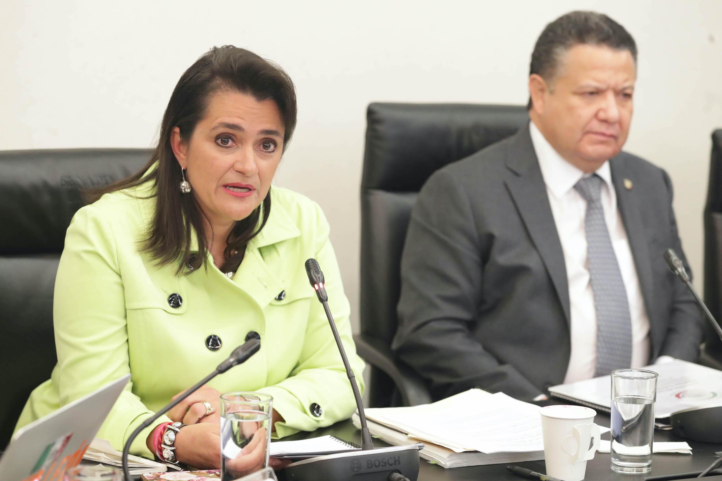 Margarita Ríos-Farjat en la Reunión de la Comisión de Justicia, comparecencias de las aspirantes a ocupar el cargo de Ministra de la SCJN. Foto de Senado de la República.