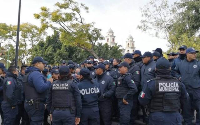 Destituyen a titular de Seguridad de Tehuacán tras señalamientos de acoso - Policías Tehuacán protesta Puebla