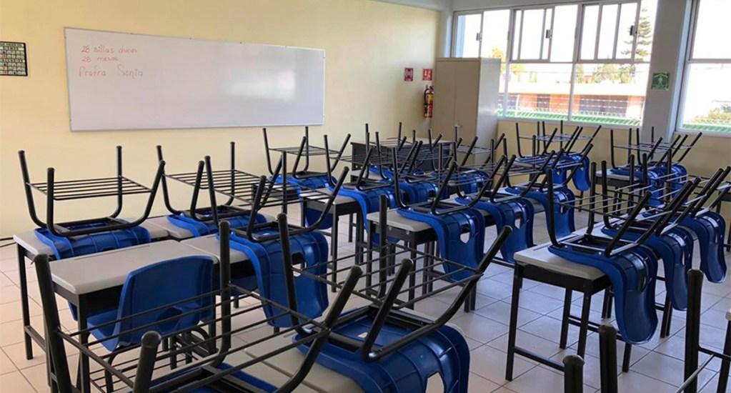 Solo habrá regreso a clases en Semáforo Verde, aclara SEP - Salón de clases vacío