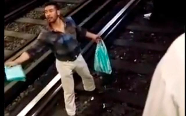 Hombre en estado de ebriedad tira a policía a las vías del Metro - Sujeto que arrojó a vías del Metro a policía. Captura de pantalla