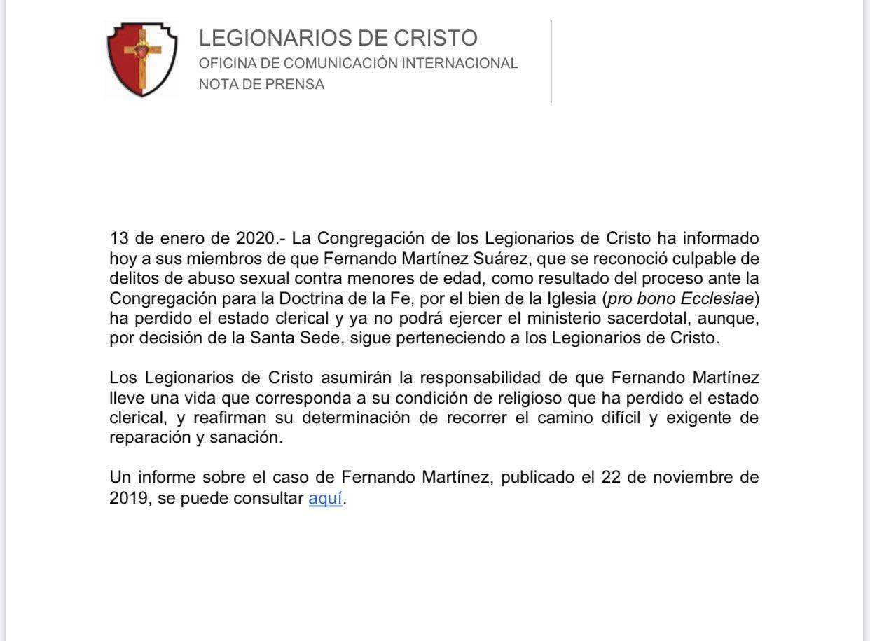 Legionarios de Cristo retiran estado clerical a sacerdote que abusó de menores