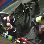 Auto cae del Segundo Piso del Periférico Sur; un muerto y un herido