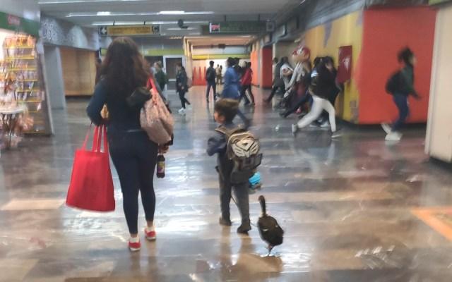 Niño pasea a pato con tenis en Metro de la Ciudad de México - Niño con pata en el Metro de la Ciudad de México. Foto de @Marti_Diego